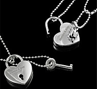 Personalized Gift 2-in-1 Women's Heart Shaped Engraved Necklace with Lock (within 10 characters)
