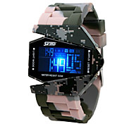 Men's Camouflage Shuttle Style Colorful LED Digital Silicone Band Wrist Watch Cool Watch Unique Watch
