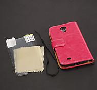 Litschi-Druck-Muster PU-Leder-Beutel + HD Screen Protector 3 Stück für Samsung Galaxy I9500 S4