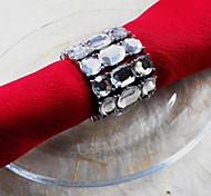 Metal Cristal Boda Anillo de servilleta Conjunto De 6, Dia 4.5cm