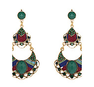 Ethic Style Green Chandelier Shape Green Resin Drop Earrings