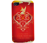 Fiery-Red Heart tragen Hawk und Crown Muster Transparent Frame TPU Tasche für iPhone 4/4S