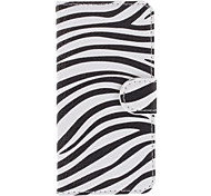 Zebra Print Pattern PU Full Body Case with Stand and Card Slot for iPhone 5C