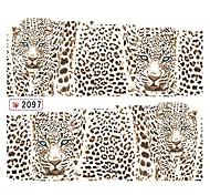 1x10PCS Leopard Patrón de transferencia de agua de impresión del arte del clavo de la etiqueta engomada