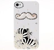 DIY Bart und Zebra-Muster Jewel Dachte Tasche für iPhone 4/4S