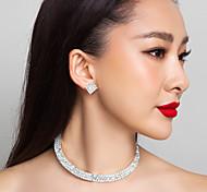 de alta calidad checo rhinestones collar chapado en aleación de boda y pendientes establecidas joyas