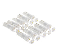 T5 0,15 W 1-LED 10LM 3000K Warm White Light Bulb LED para carro (12V, 10 pcs)