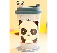 Waving Bear and Pandas Head Coffee Mug,Porcelain 16oz