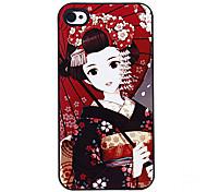 Las mujeres en kimono japonés Patrón Hard Case aluminoso para el iPhone 4/4S