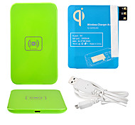Green Wireless Power Charger Pad + USB Cable + Receiver Paster(Blue) for Samsung Galaxy Note3 N9000