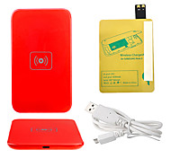 Red Wireless Power Charger Pad + USB Cable + Receiver Paster(Gold) for Samsung Galaxy S4 I9500