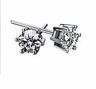 Female Fashion Classic Silver Rhodium-Plated Crystal Ball Earrings Ear