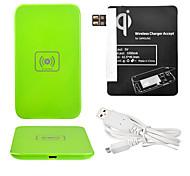 Green Power Wireless Pad Cargador + Cable USB + receptor Paster (Negro) para Samsung Galaxy Nota 2 N7100