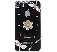 Strass Nieten Dragonflyies Muster Transparent PC Hard Case für iPhone 4/4S