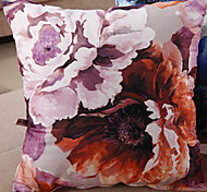 Retro Oriental Ink Painting Style Purple Blossoms Decorative Pillow With Insert