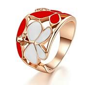 plaqué or de dame Bague fleur rouge