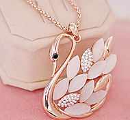 Sweet (Swan Pendant) Clear Rhinestone With Ivory Opal Pendant Necklace (1 Pc)