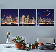 Modern Style City Night Scene Wall Clock in Canvas 3pcs