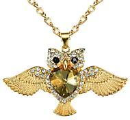 "Fashion Champagne Heart Body Owl Pendant Sweater Chain Neckalce 27"""
