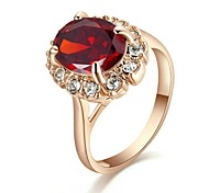 Classic Lady's Four Claws Red Simulated Diamond Ring