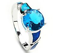 Plata 925 de la manera plateó el anillo Copper Blue Zircon