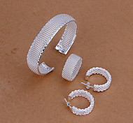 European Silver Plated (Necklace & Earrings & Ring) Hollow Out Jewelry Set