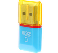 USB 2.0 Micro SD Memory Card Reader (Blue/Yellow)