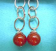 Elegant red agate earrings