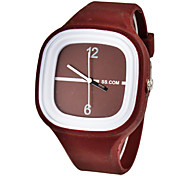 Unisex Simple Square Dial Silicone Band Quartz Analog Wrist Watch (Assorted Color)