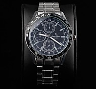 Men's Round Dial Stainless Steel Band Quartz Wrist Watch