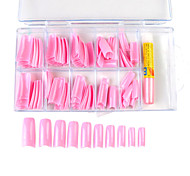 100PCS Mixed Size Pink French Nail Tips with Glue