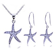 Lureme®Zircon Starfish Pendant Necklace and Earrings Set