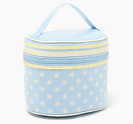 Light Blue Spot Waterproof Coating Cotton Cloth Thicken Columned Make up/Cosmetics Bag Bathroom Cosmetics Storage