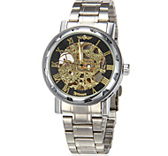 Men's Auto-Mechanical Gold Hollow Dial Silver Steel Band Skeleton Wrist Watch