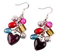 Fashion Glass Beads  Heart-Shaped Drop Earrings