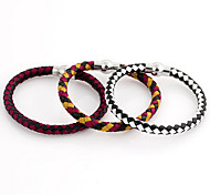 Classic Woven 20cm Women's Black Leather Leather Bracelet(Red,Yellow,White)(1 Pc)