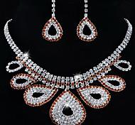 elegante de la boda de diamante de imitación pendientes de la forma gota cristalina& set collar de la joyería