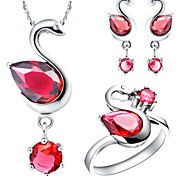 Round Multicolor Cubic Zirconia (Necklaces&Earrings&Rings) Gemstone Jewelry Sets