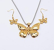 Fashion  Titanium Steel Batterfly Necklaces Earrings Vintage Jewelry Sets
