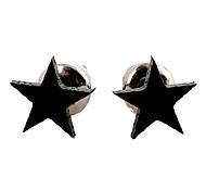 Classic Star Black Alloy Stud Earrings (1 Pair)