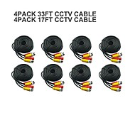 4 PACK 17FT + 4 PACK   33FT BNC Cable  Power Video Plug and Play Cable for CCTV Camera System Security