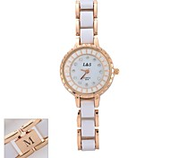 Personalized Gift  Fashion Women's Diamante White Dial  Ceramic Band Analog Engraved Watch  with Rhinestone