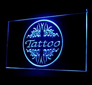 Tattoo Shop Bone White Blue Orange Red Yellow Purple Green Advertising LED Light Sign