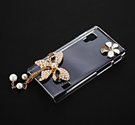 Pearl Bowknot and Flower Pattern Transparent Plastic Hard Back Case Cover for LG Optimus L5 II