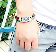 European  24cm Men's Multicolor Leather  Bracelet(1 Pc)