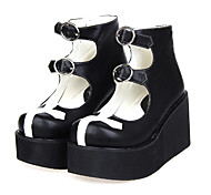 White Cross Platform Gothic Black PU Lolita 8cm High-heeled Shoes