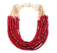 Fashion Necklace Gorgeous 14 Layers Dark Red Acrylic Necklace Statement Necklace