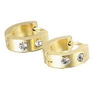 presente para namorado moda strass titânio brincos de ouro de aço (1 par)