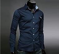 Camicia Uomo Casual Tinta unita Cotone Manica lunga Blu / Bianco