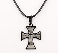 Personalized Gift Black Cross Shaped Engraved Necklace